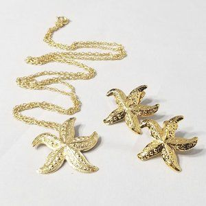 STARFISH NECKLACE AND CLIP ON EARRING SET